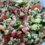 quinoa salad with pomegranate close up
