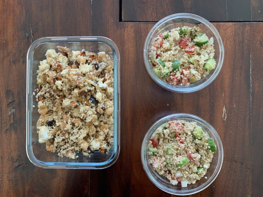 quinoa salad in glass containers