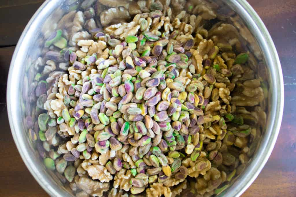 whole pistachios and walnuts