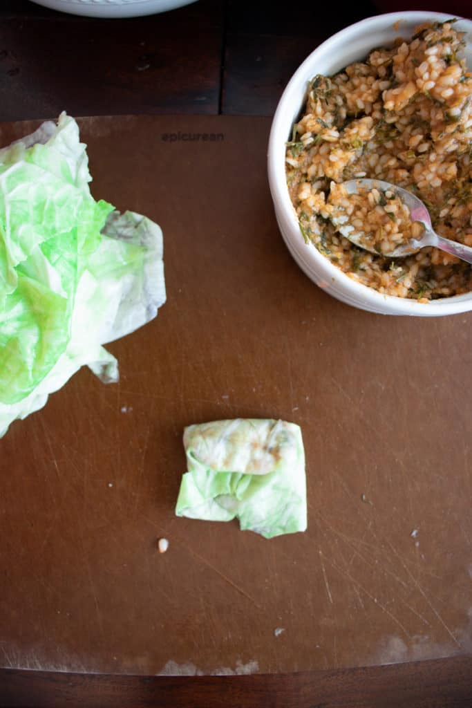 stuffed cabbage rolls assembly