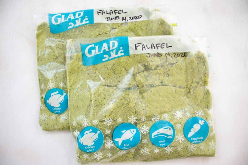 falafel recipe baked in storage bags