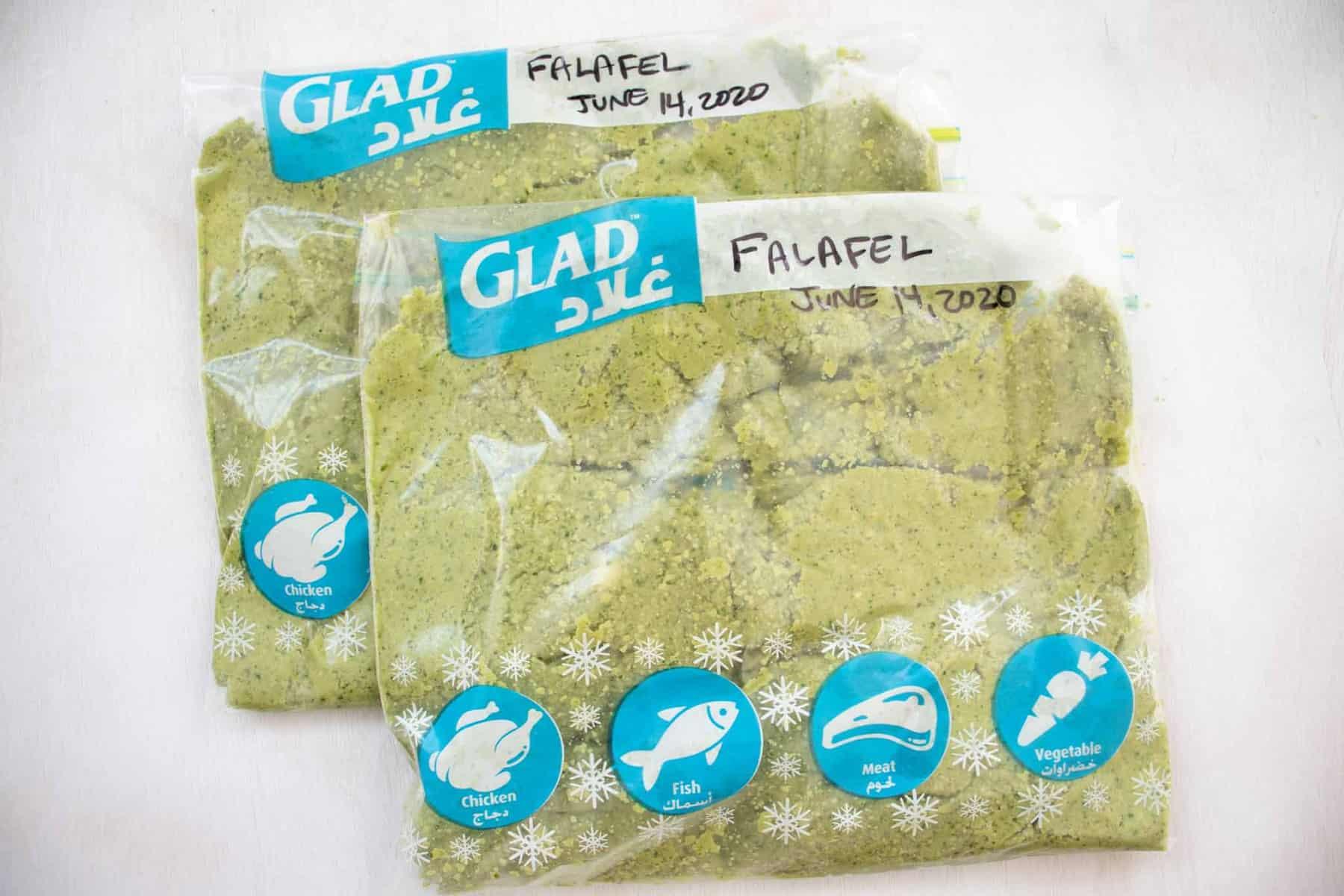 falafel in storage bags