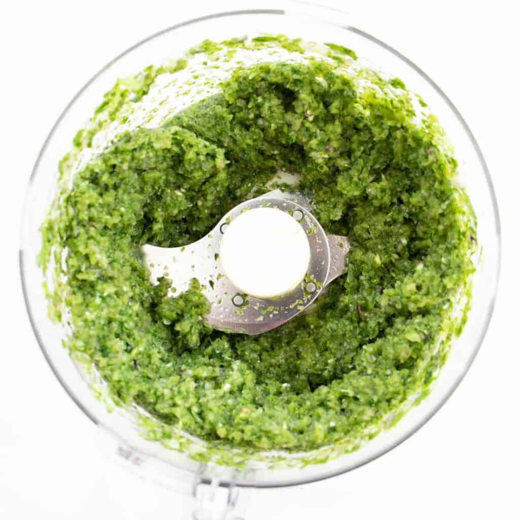 blended falafel in a food processor