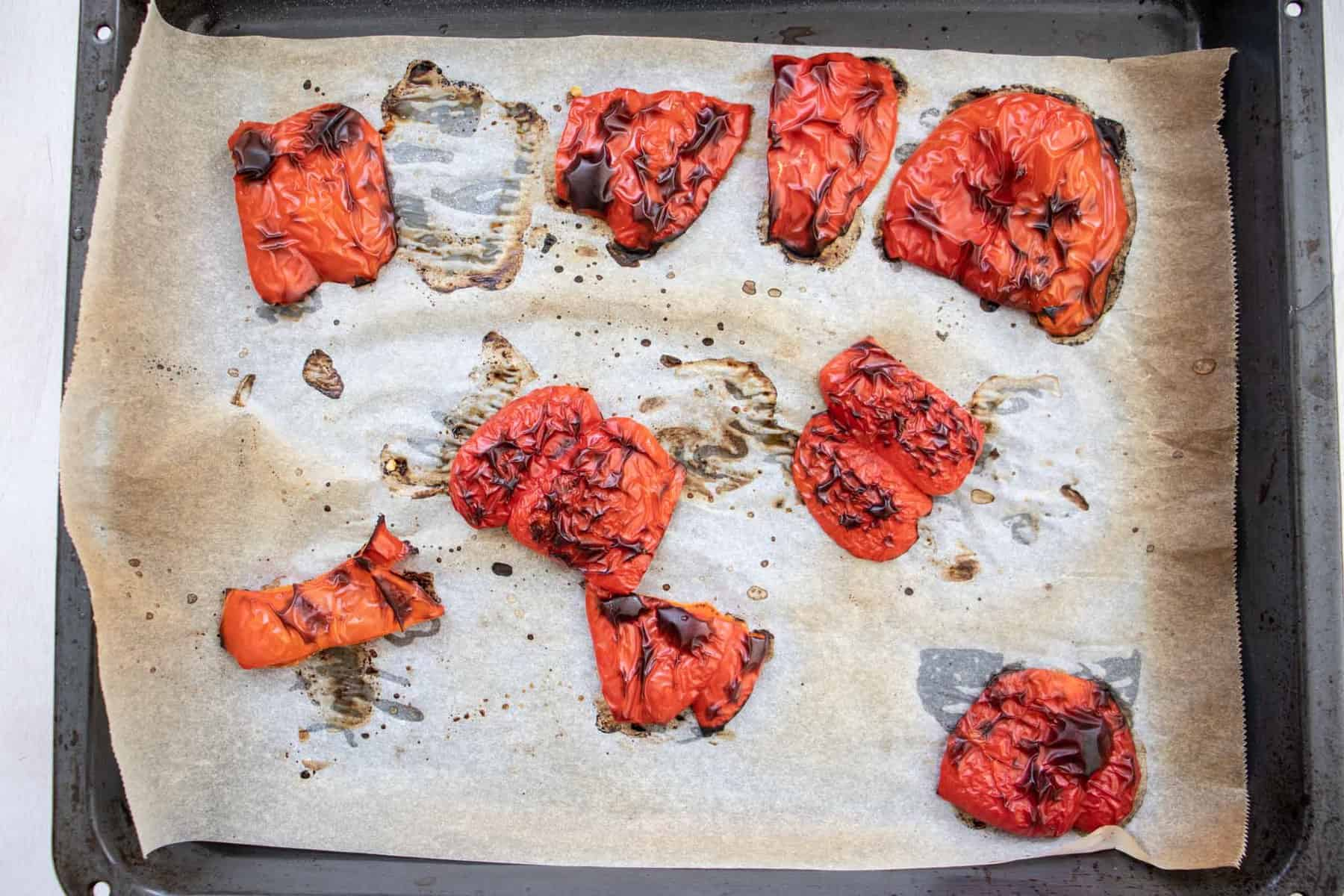 roasted red peppers in pan