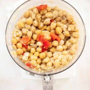 blending hummus recipe with tahini in food processor