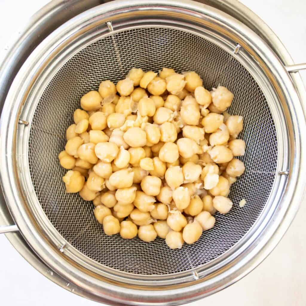how to cook chickpeas being drained