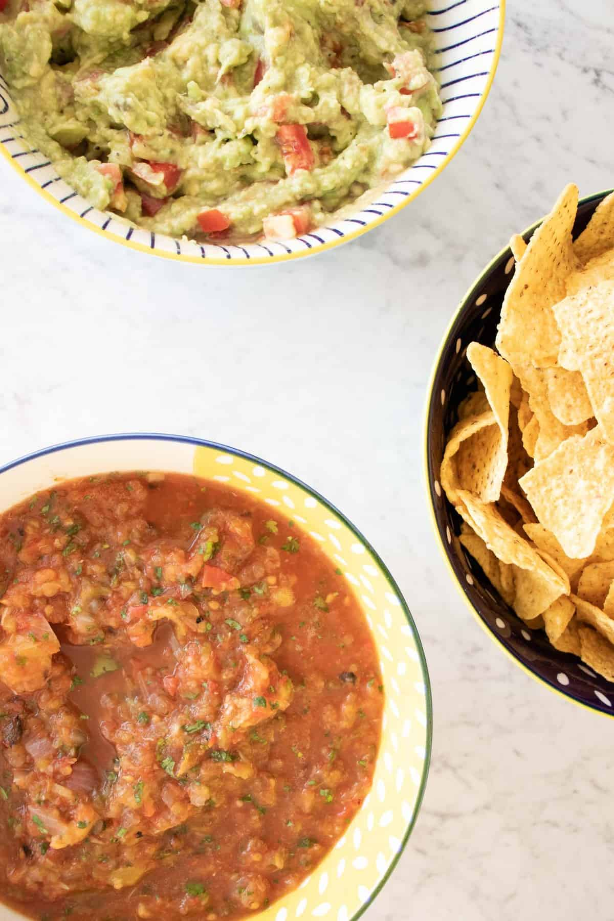 pineapple salsa with guacamole and chips