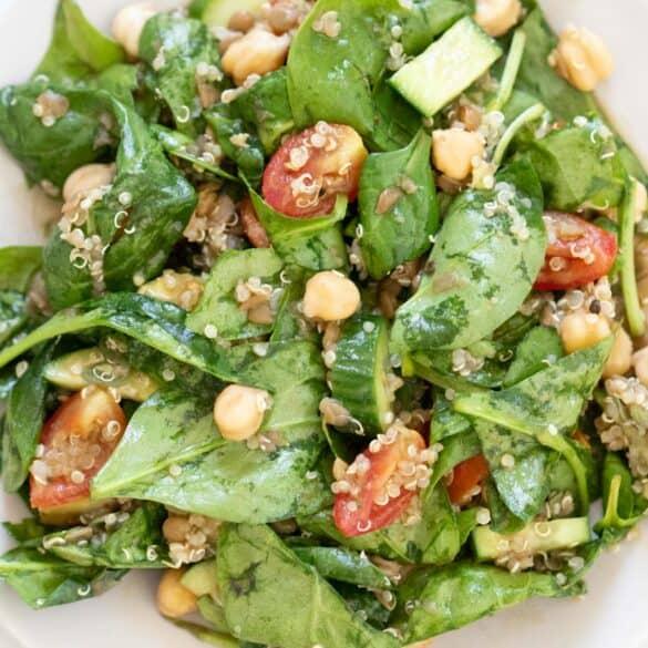 american recipes quinoa salad and spinach