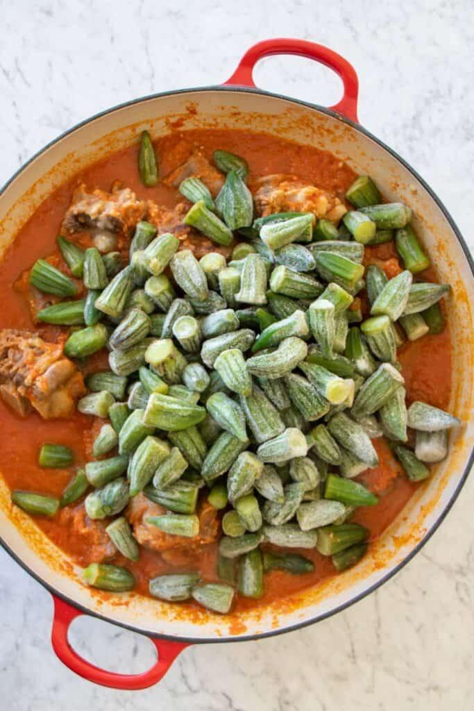 add frozen okra to oxtail stew