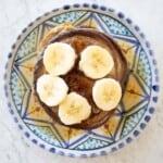 homemade oatmeal banana pancake top view