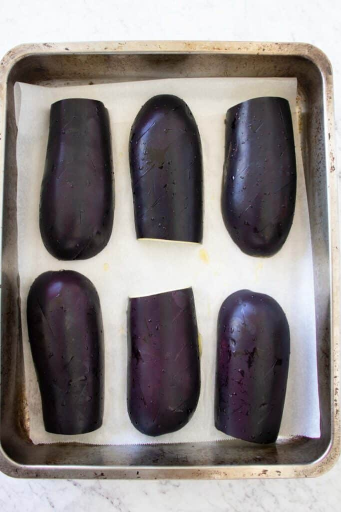 eggplant in a roasting pan
