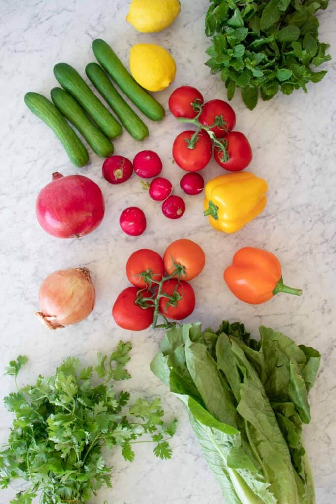 ingredients for fattoush salad