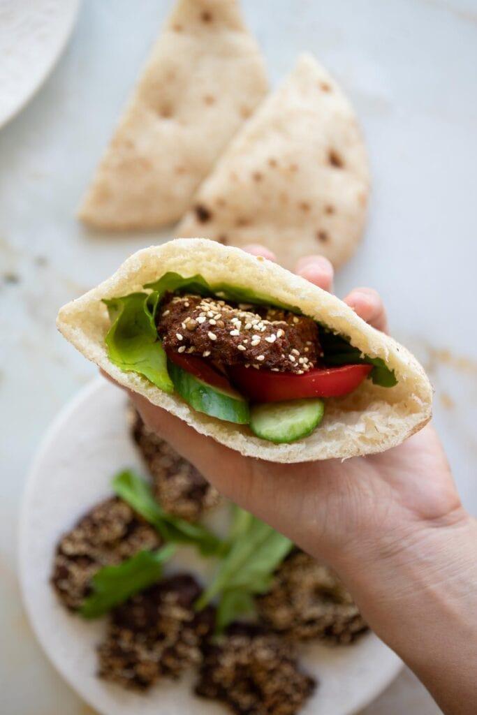 pita pocket filled with falafel