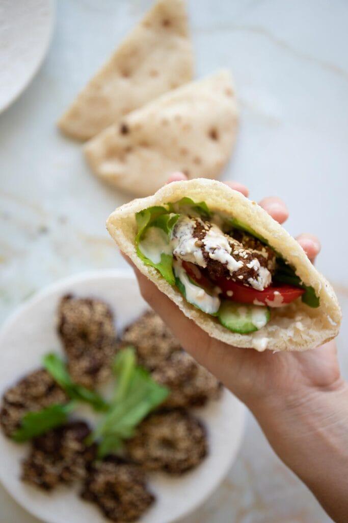 pita pocket with falafel and tahini yogurt falafel sauce