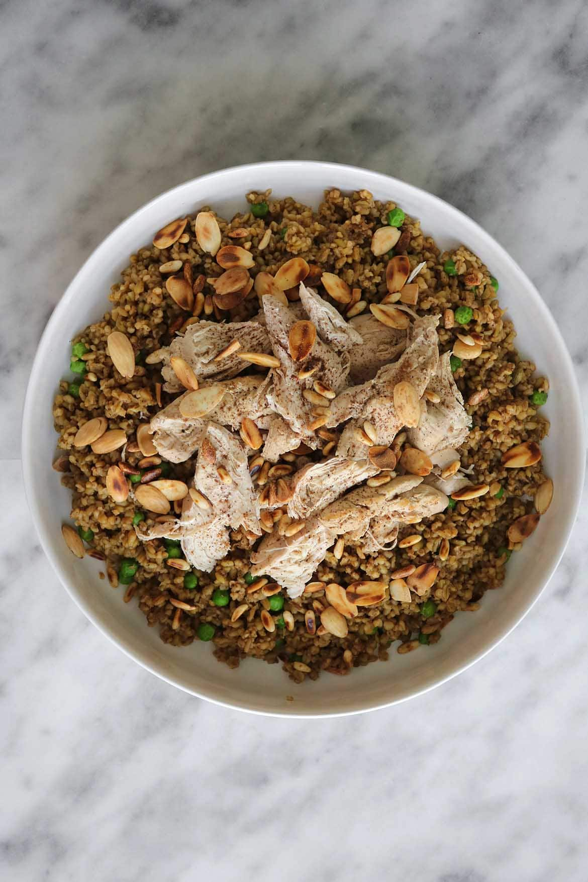 cracked wheat chicken dish with toasted nuts
