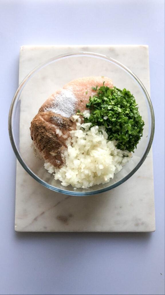 chicken kafta ingredients in a bowl