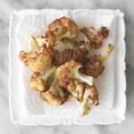 close up of golden deep fried cauliflower