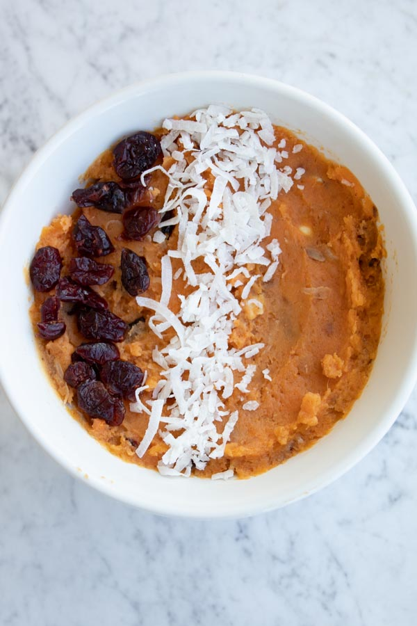 shredded coconut and sweet potatoes