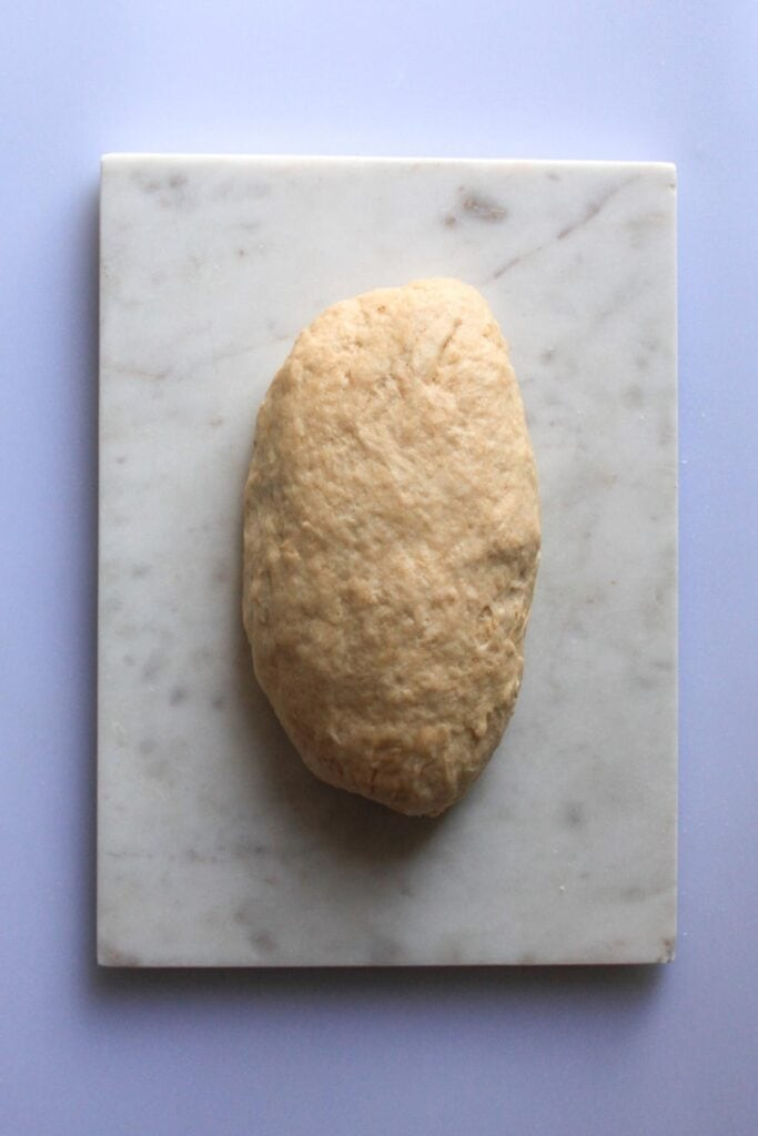the dough formed into a log
