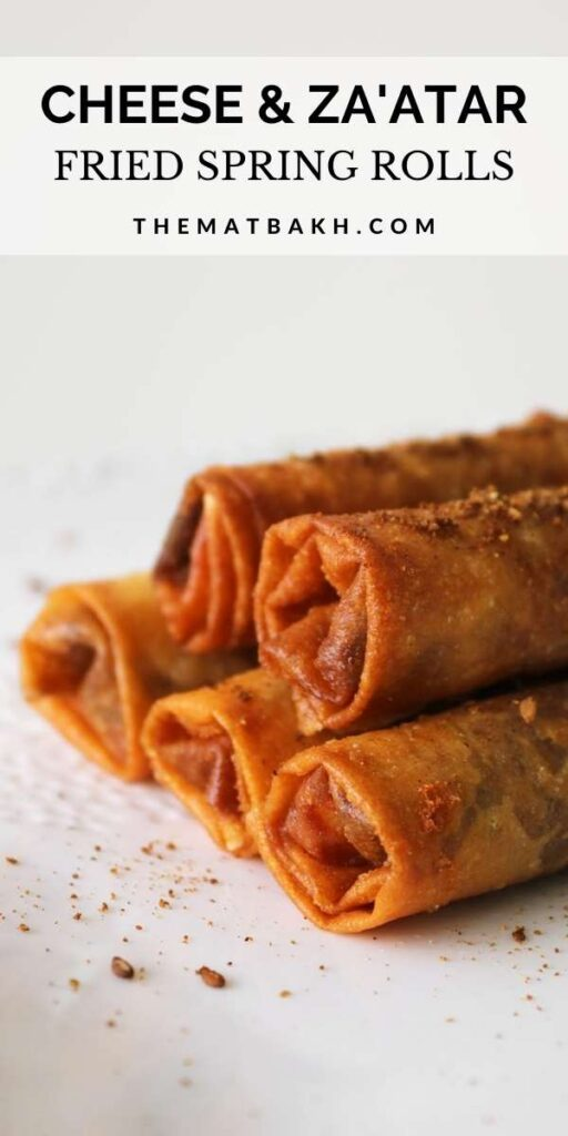 pinterest image for cheese spring rolls