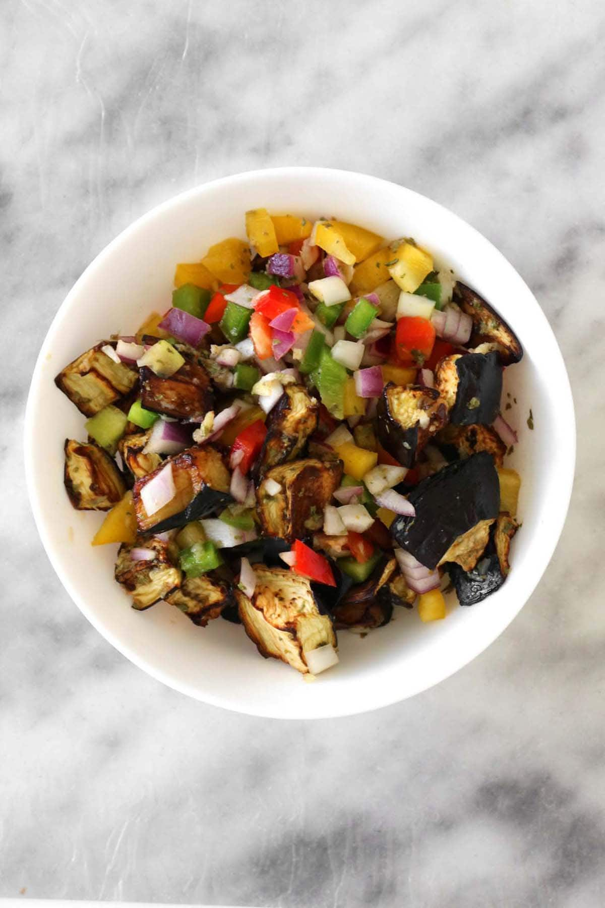middle eastern eggplant salad in a white bowl