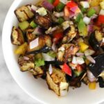 close up of middle eastern eggplant salad in a bowl
