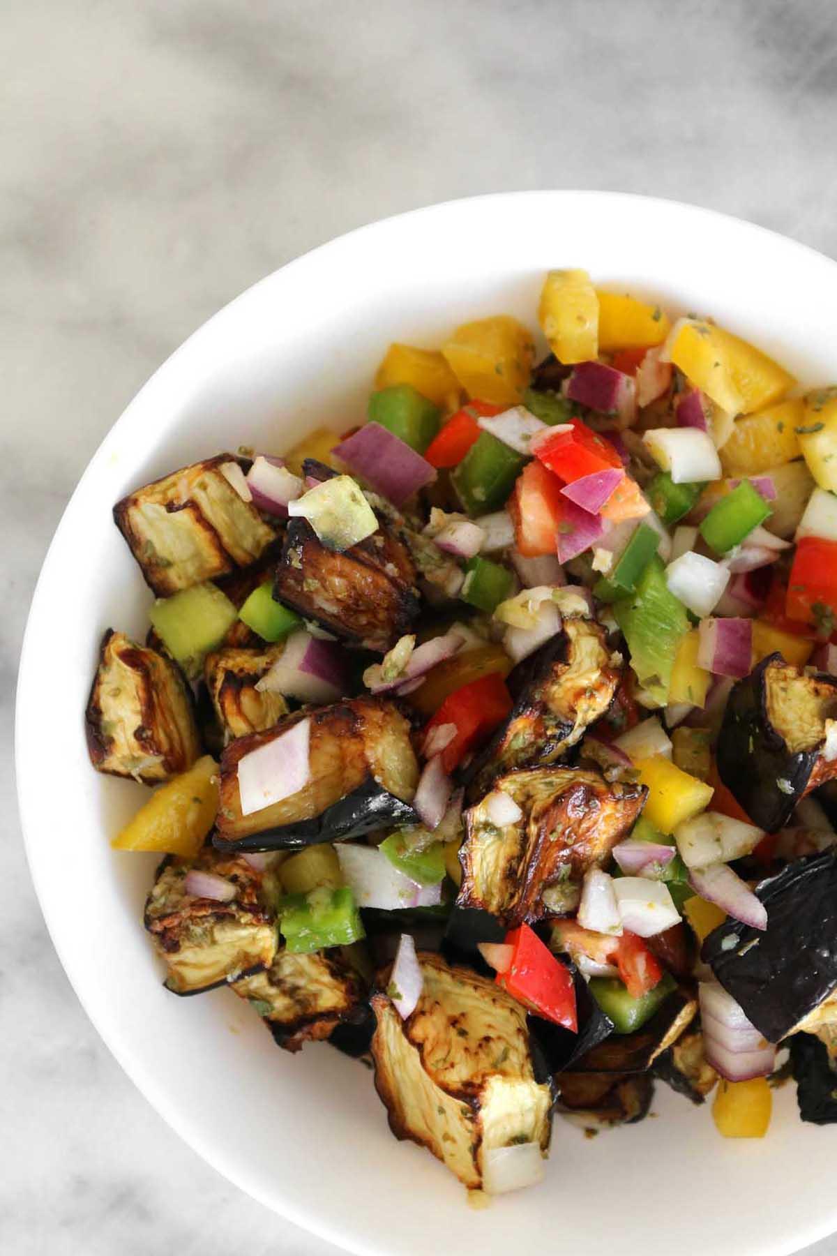 eggplant salad in a bowl