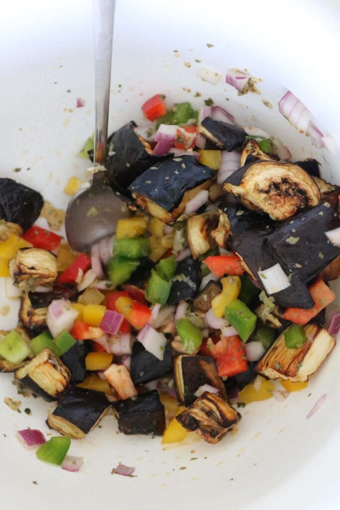 eggplant salad mixed in a bowl