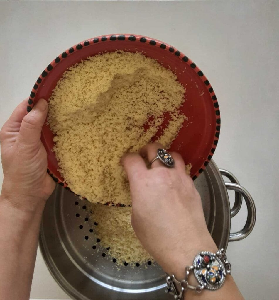 couscous in the top level steamer tray