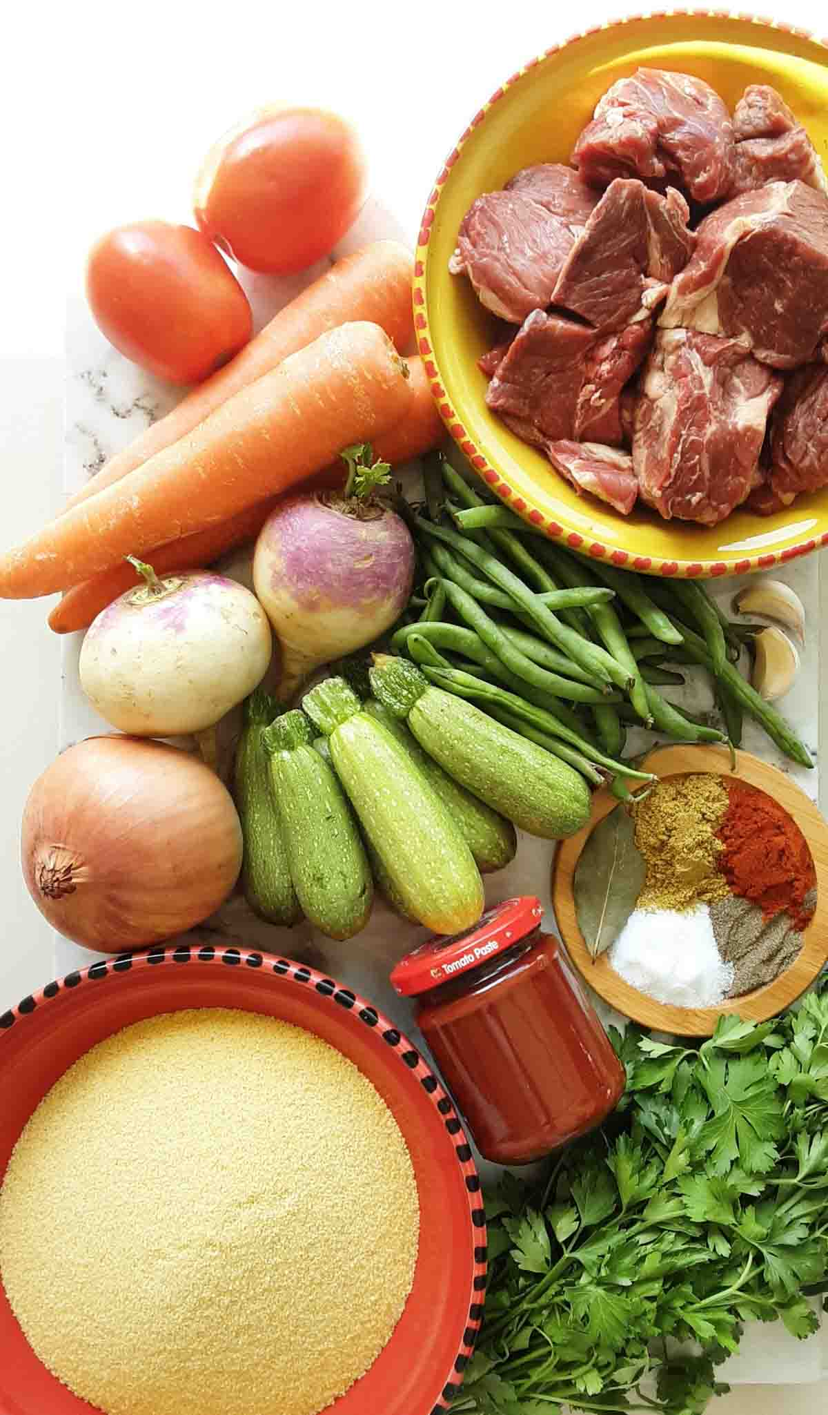 ingredient spread for couscous and algerian lamb stew