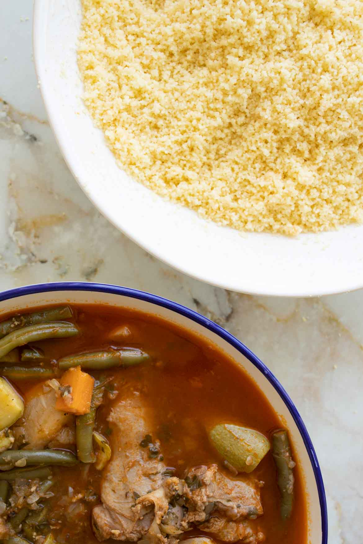 couscous and lamb stew close up