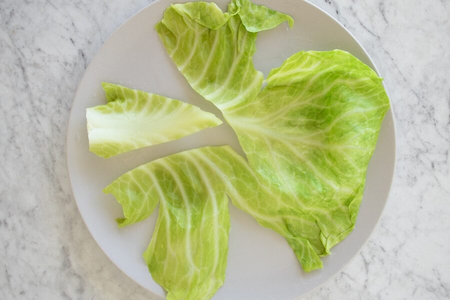 cutting the cabbage leaf stem out of the leaf