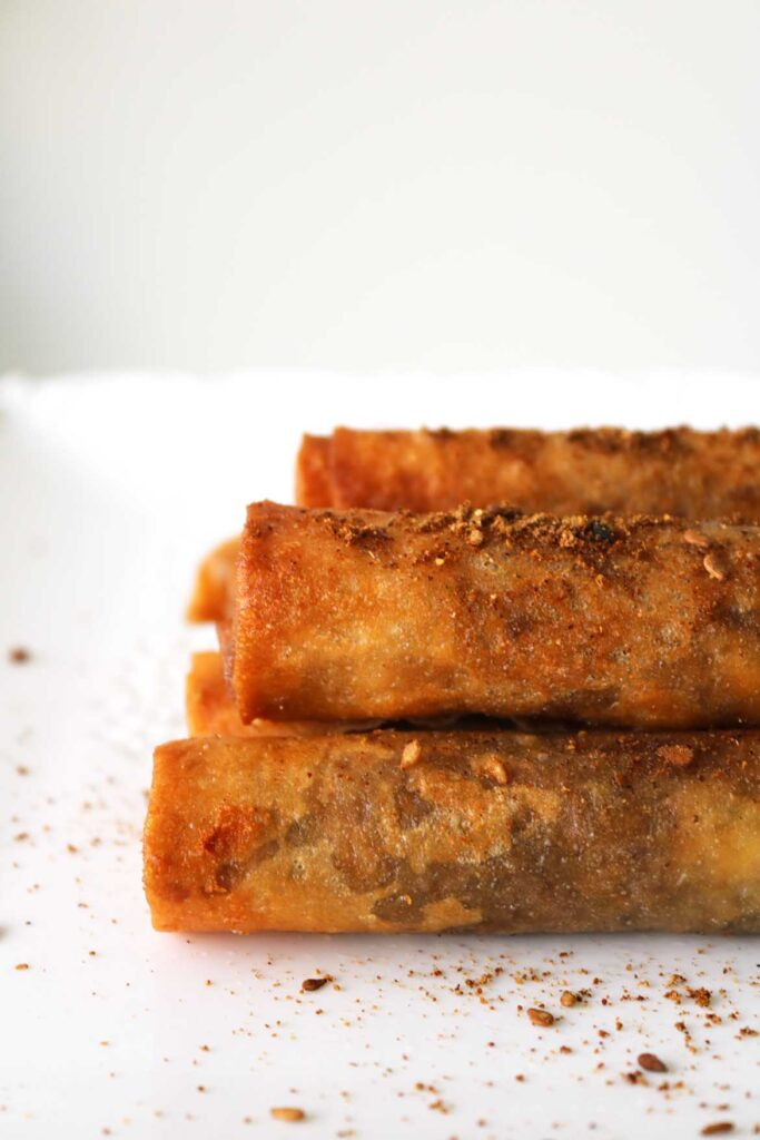 side view of zaatar and cheese rolls