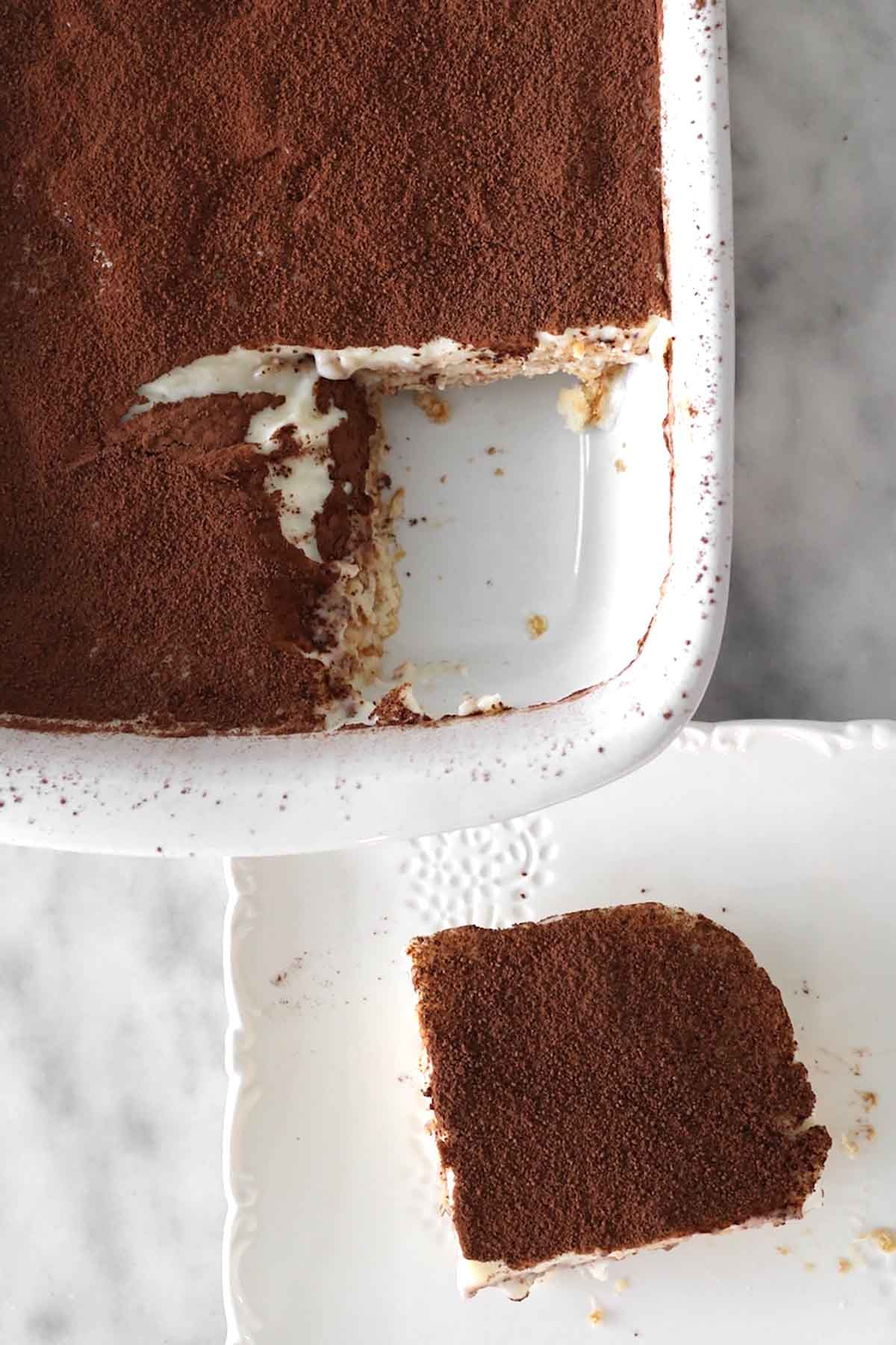 custard cake with a piece on a plate