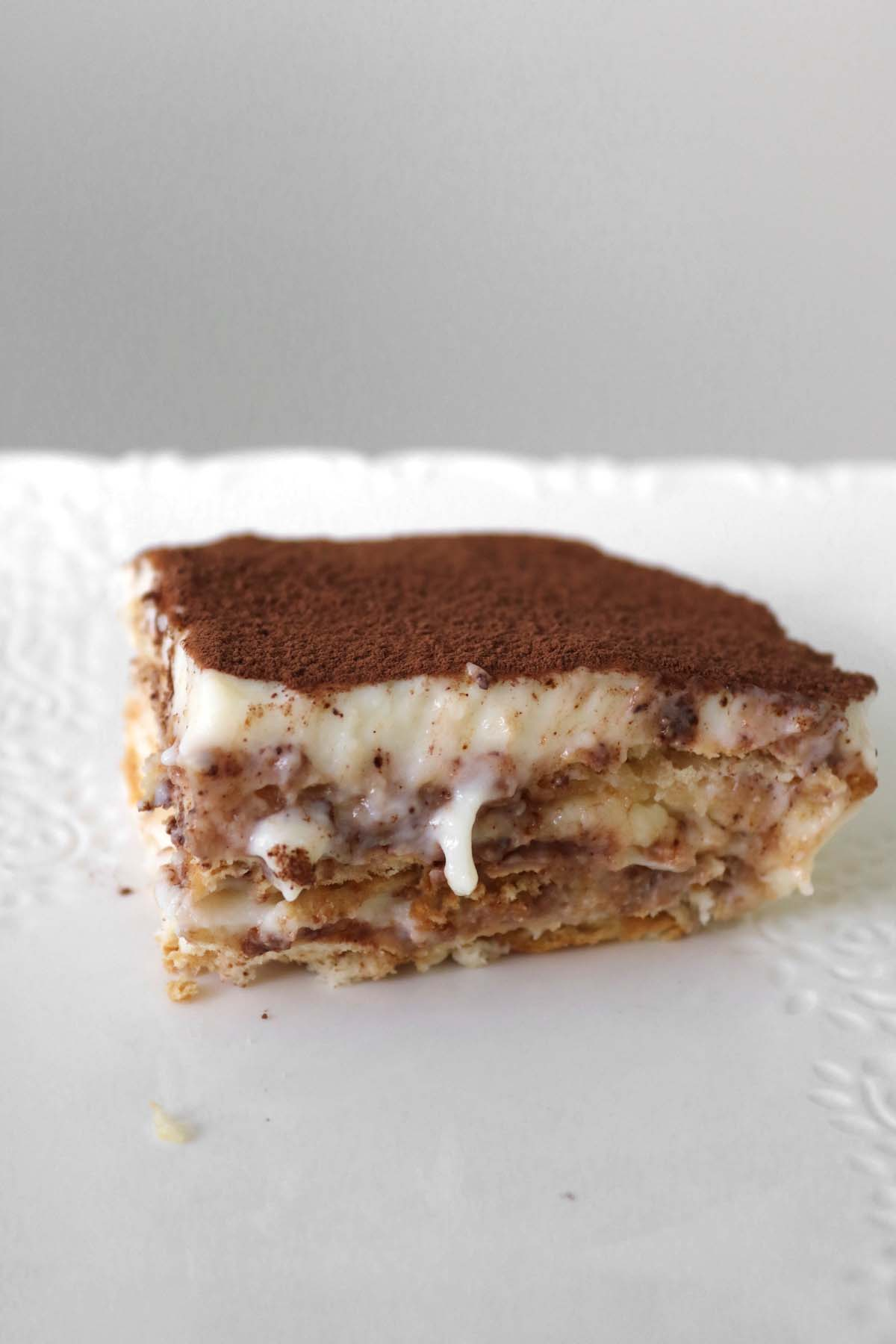 side view of custard cake
