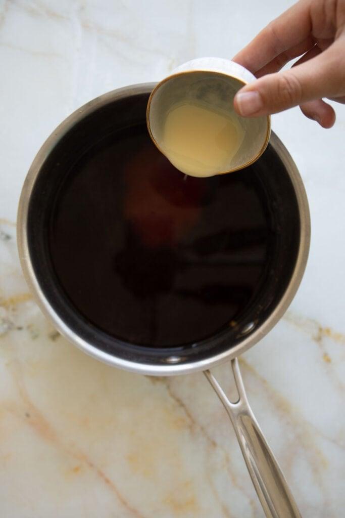 add the condensed milk to the black tea