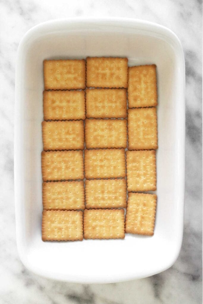 adding the first layer of biscuits