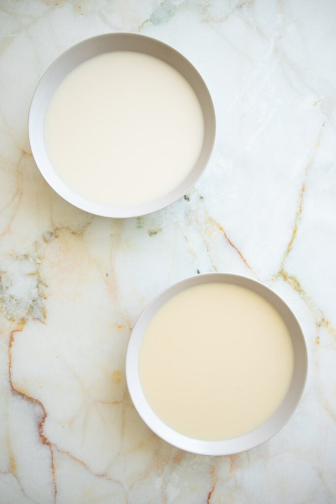 almond milk with sweetened sugar and almond milk sweetened with dates