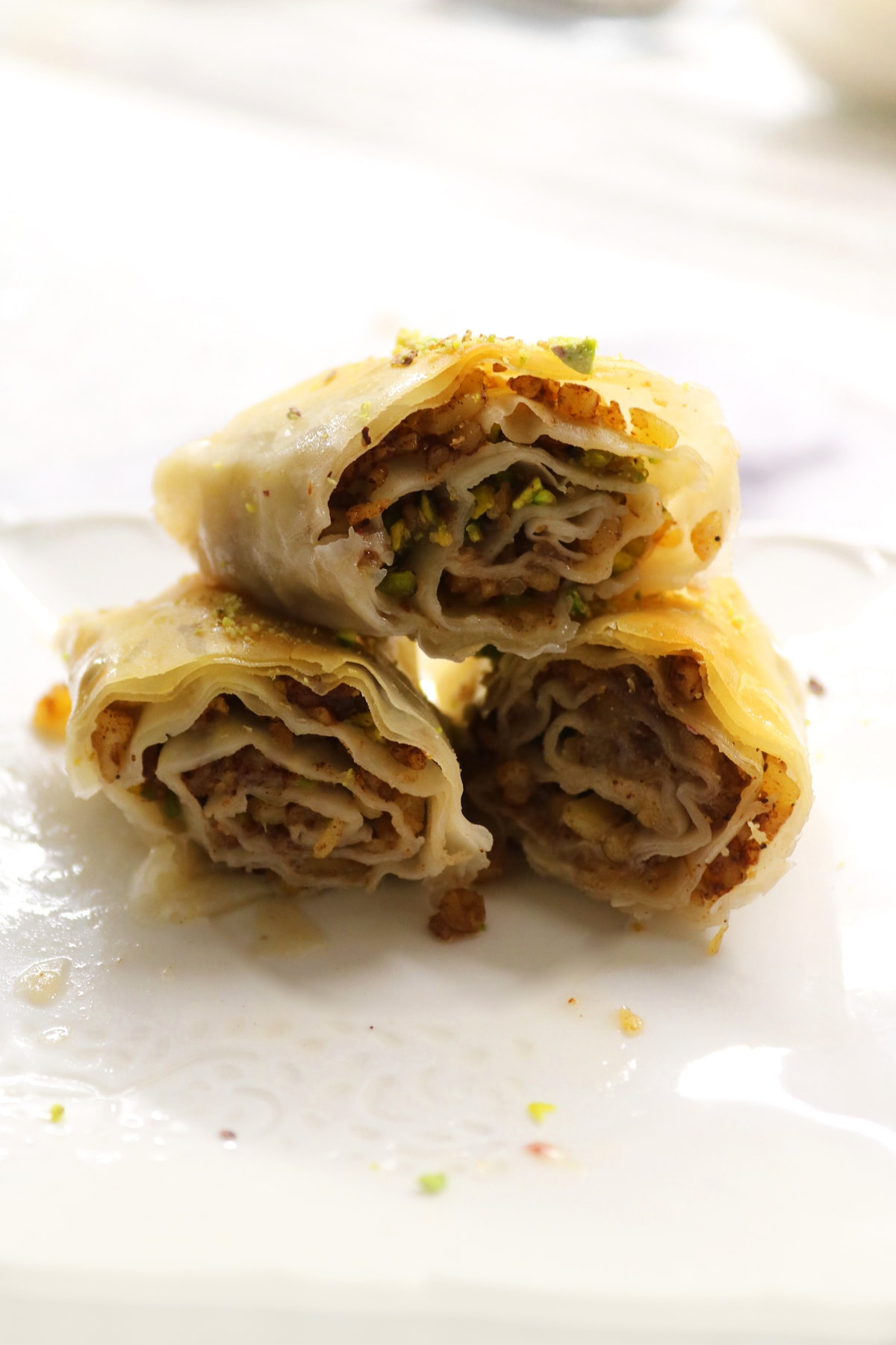 side view of baklava rolls