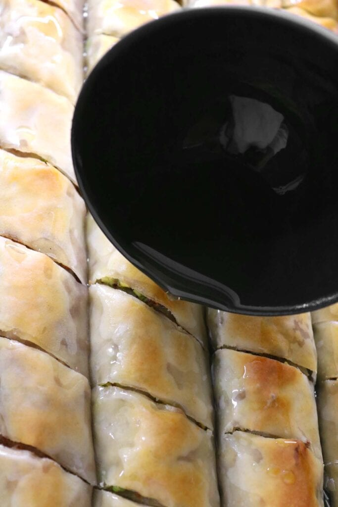 pouring simple syrup in the cracks