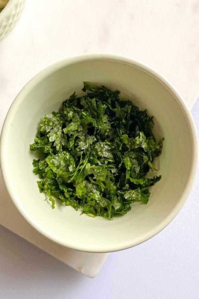 cilantro in a bowl