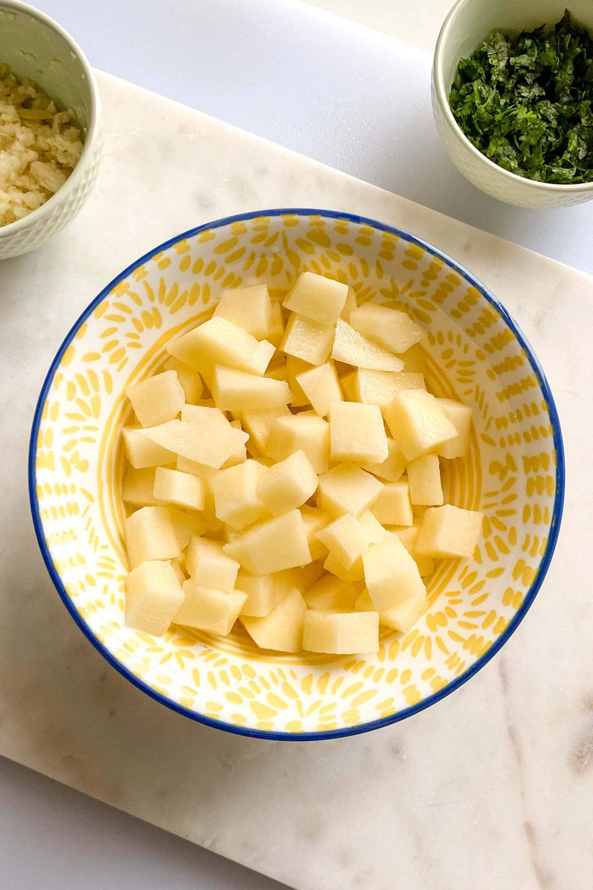 chopped potatoes in a bowl