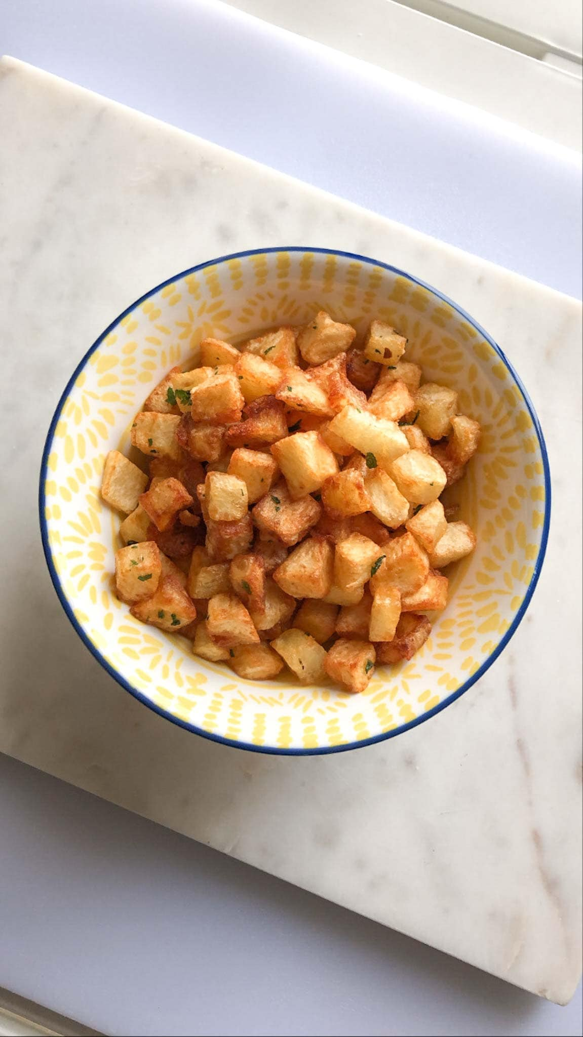 lebanese spiced potatoes in a bowl