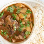 fassoulia lima bean stew with lamb and lebanese vermicelli rice