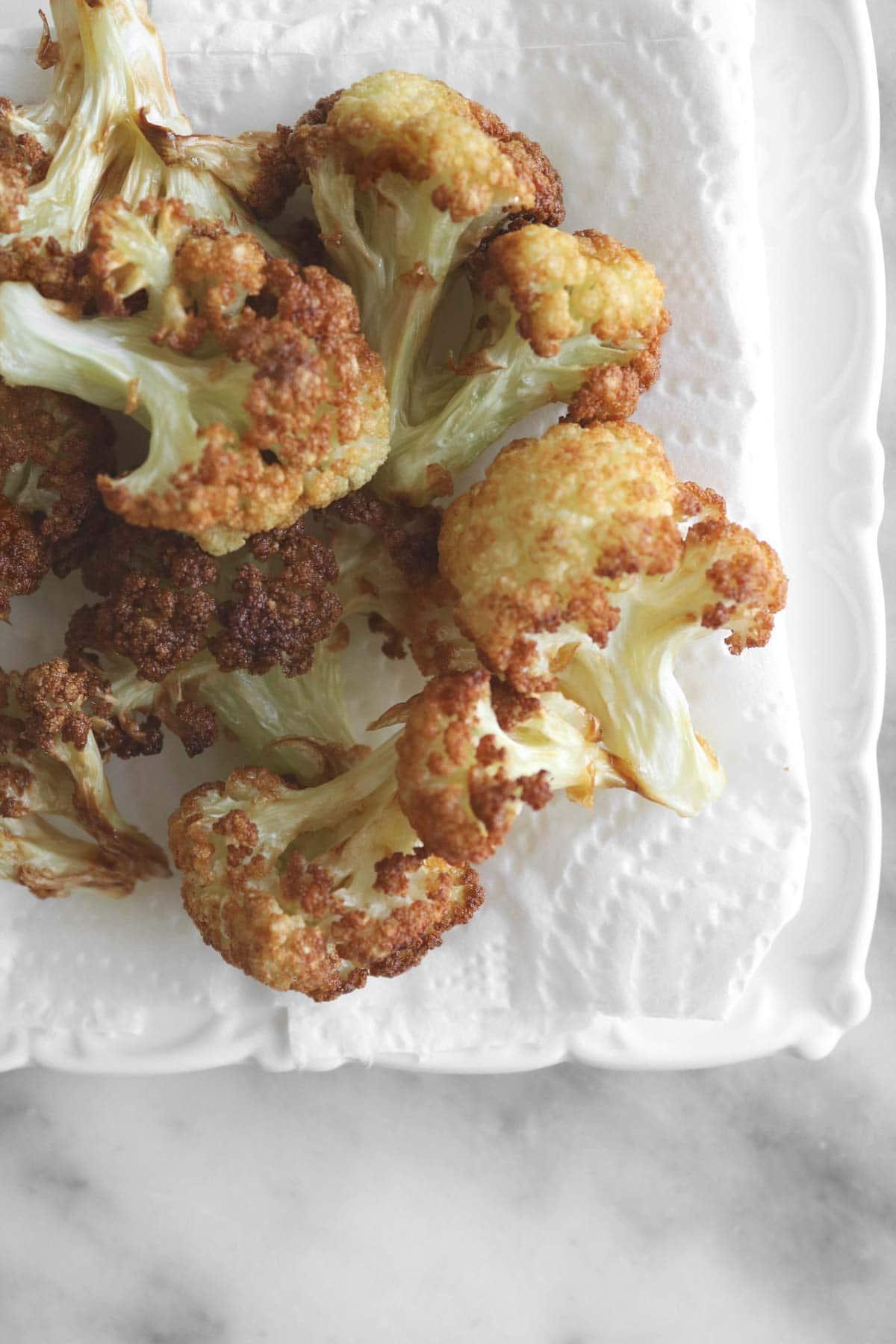 close up view of cauliflower florets