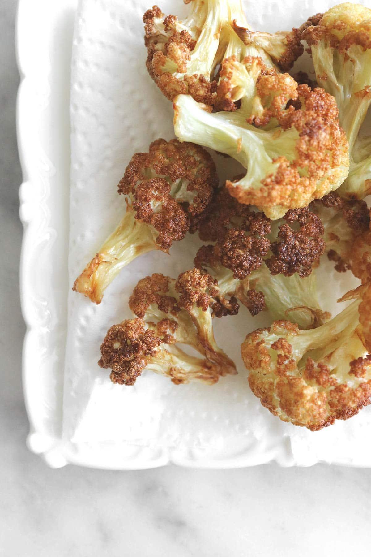 close up of cauliflower florets