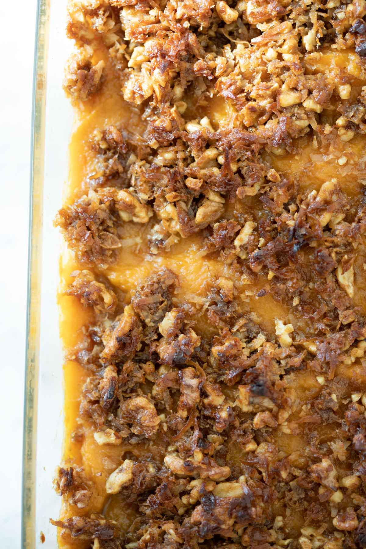 close up of the sweet potato souffle