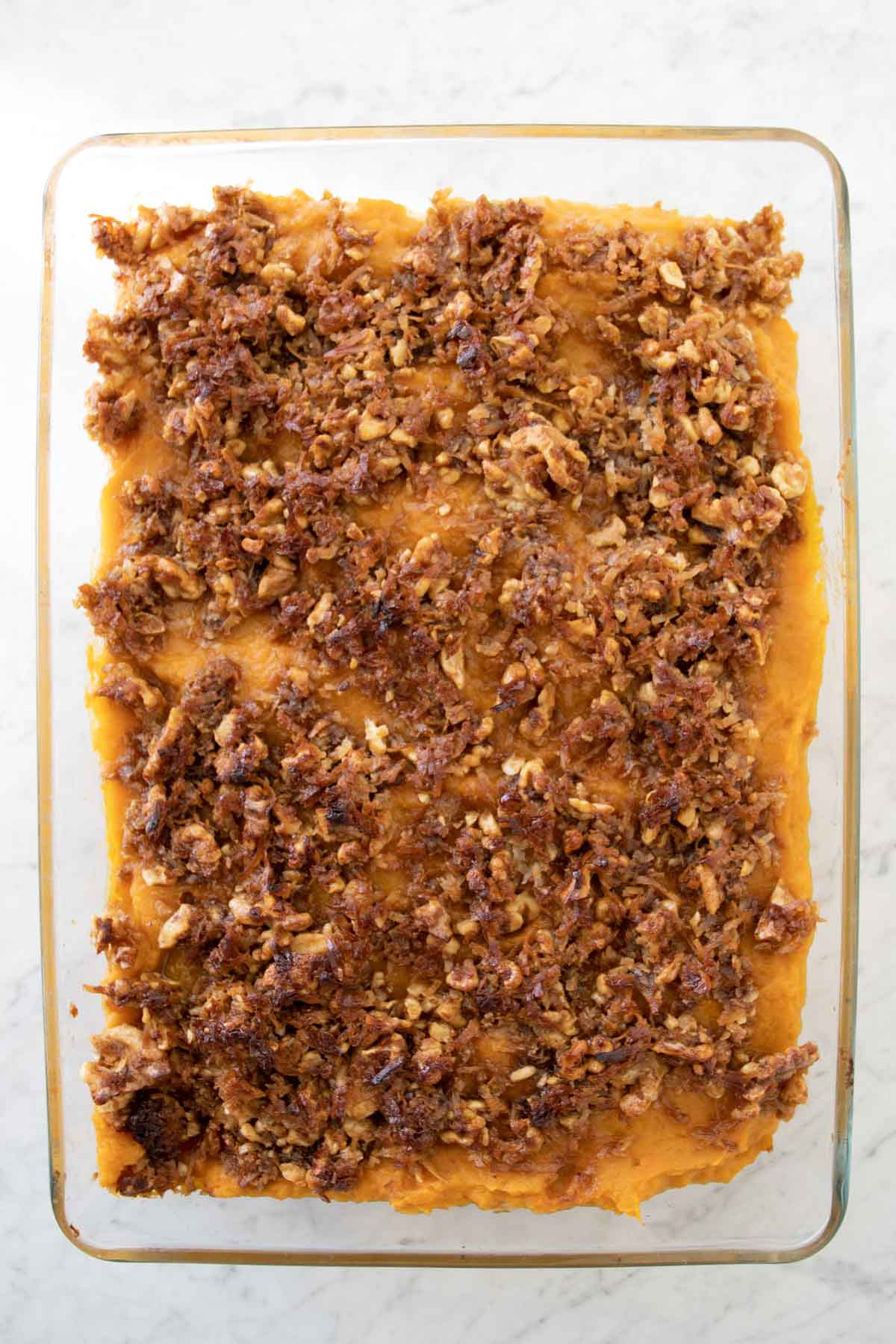 sweet potato thanksgiving dessert in a glass container