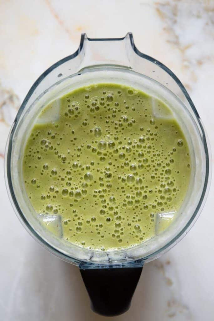 blended detox green smoothie in a vitamix