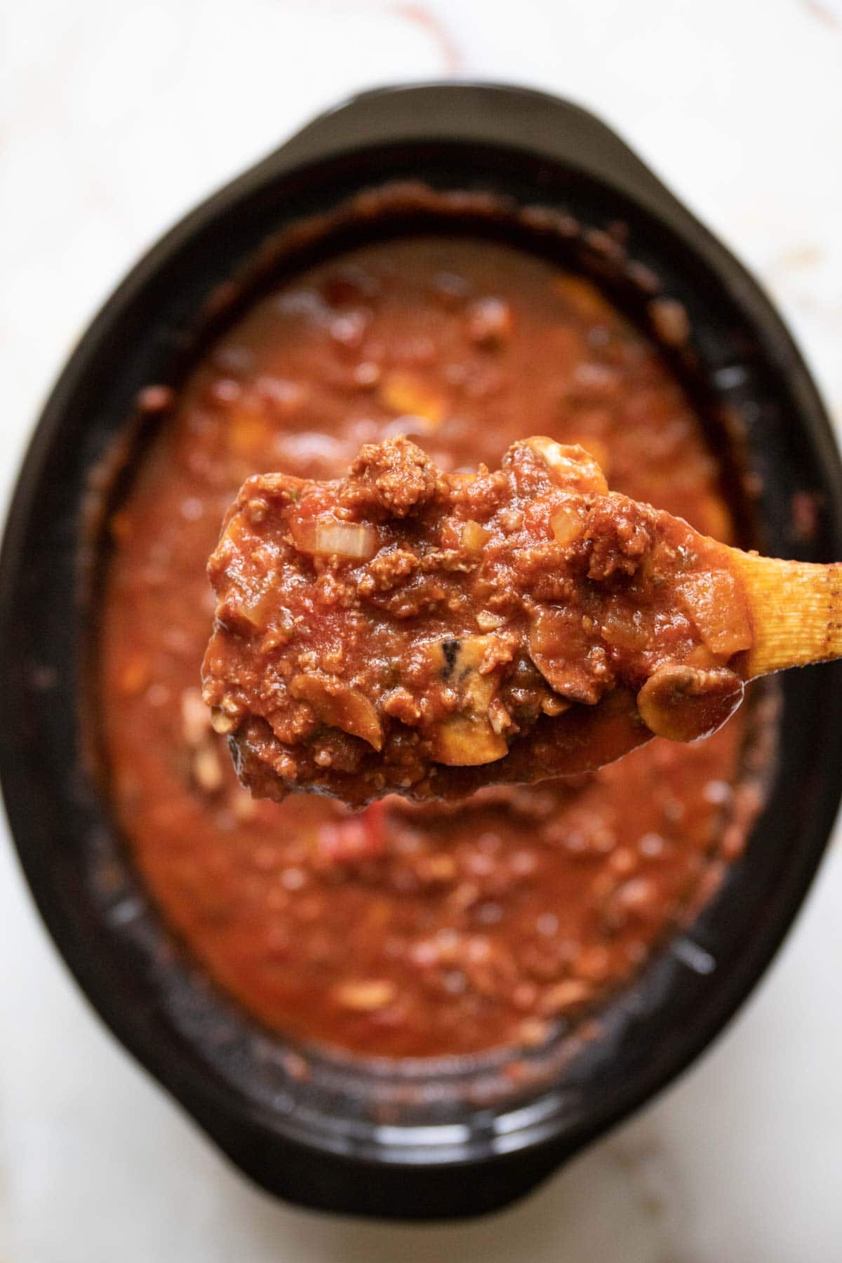 close up view of the texture of the meat tomato sauce